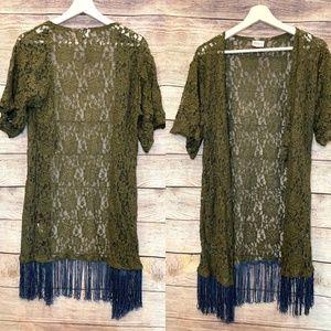 🍂 LulaRoe green lace fringe open front cardigan